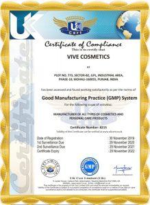 Vive Cosmetics Certificate